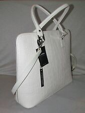 NEW NWT CLAUDIA FIRENZE ITALIAN MADE PALE GRAY EMBOSSED LEATHER TOTE DOCTOR BAG