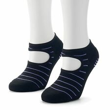 NEW womens ADIDAS 2-pk NO-SHOW SOCKS studio STRIPED climalite GRIPS black
