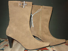 Mossimo Beige Suede Split Toe Side Zip Fasion Boots Mid Calf PERFECT!