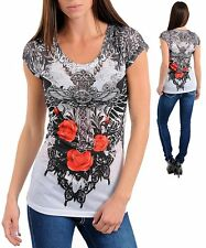M22 -Large- T-ShirtTattoo Print,Cross,Wings and Rosses,Stretch Blouse,Top