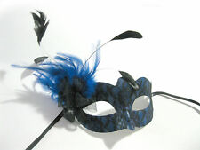 Blue Lace Feathered Venetian Sexy Woman Mardi Gras Adult Costume Party Mask
