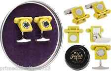 TED BAKER Telephone Cufflink Yellow BOROUGH Polished Metal Cufflinks BNWT RRP£65