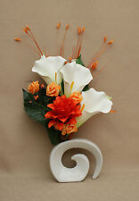 ARTIFICIAL SILK WHITE LILY, MIXED ORANGE FLOWERS IN WHITE FOSSIL CERAMIC VASE