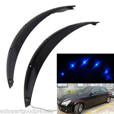 Car Fender Flares Arch Wheel Eyebrow Protector ABS Black Sticker &Blue LED Light