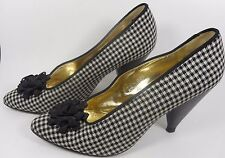 ESCADA Vintage Shoes Pumps 7 37 Black White Check Flower Hapachico Couture