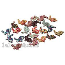 50x Rabbit Wooden Mix Colours Sewing Buttons Scrapbooking Makings DIY On Sale LC