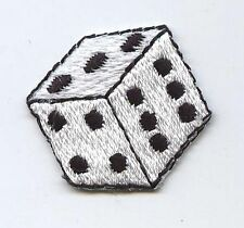 Iron On Embroidered Applique Patch Small White Die Dice Gambling Game