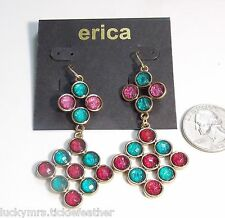 ERICA French Hook Pierced Earrings Turquoise Blue/Pink/Red Chandelier Dangle NEW