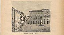 Stampa antica SASSARI Piazza d'Italia Sardegna 1891 Old antique print
