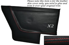 RED STITCH 2X REAR DOOR CARDS LEATHER SKIN COVERS FITS VW GOLF MK1 CABRIO