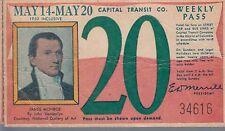 Trolly/Bus pass capital Transit Wash. DC--1950 James Monroe-----27
