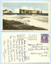 Perce Rock from South Beach Perce Quebec Canada 1953 Postcard