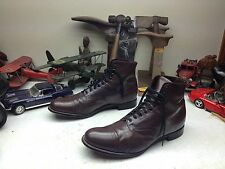 MADE IN INDIA STACY ADAMS LACE UP URBAN HIPSTER BROWN BEATLE DISCO BOOTS 12 D
