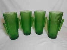 "Libbey Glass 4 Green Cactus 7"" Tall 16 oz Cooler, Tumblers . NOS. 4 sets Avail."