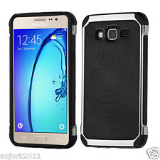 BLACK FAUX LEATHER BACK COVER W/CHROME BUMPER CASE FOR SAMSUNG GALAXY ON5 G550