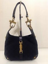 Authentic Gucci Mini Jackie O Bag. Black Mono & Leather. Ex Cond