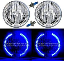 "7"" Halogen Blue Split LED Halo Ring Angel Eye Headlight Headlamp Light Bulb Pair"