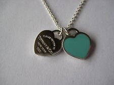 Tiffany&Co. Return to Tiffany Blue Enamel Double Hearts Necklace-w/POUCH