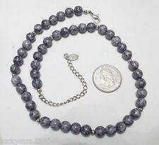 """Signed LC (Liz Claiborne) Necklace, Shades of Blue Mottled Beads, 20"""" x 8mm"""