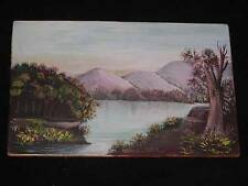 Antique Early 1900s OIL PAINTING ON CARD STOCK, Postcard Size Greeting Landscape