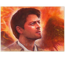"ORIGINAL AQUARELL ""Burned wings"" WATERCOLOR CASTIEL MISHA COLLINS SUPERNATURAL"