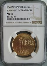 Singapore 1969 Gold 150 Dollars NGC MS-68 Founding Of Singapore