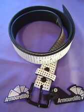 "Armourdillo White Riddle Action Leather Belt Size XL 36-40"" Waist NWT Perforated"