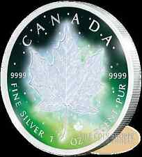 FROZEN MAPLE LEAF - 2016 1 oz Pure Silver Coin - Rhodium Plating & Special Color