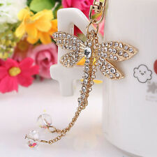Bead Dragonfly Crystal Keyring Charm Pendant Purse Bag Key Ring Keychain