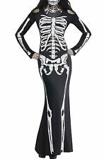 Day of the Dead Skeleton Long Ladies Womens Halloween Fancy Dress Adult Costume