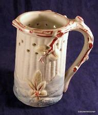 Antique C1870 Staffordshire Polychrome Embossed Leaves Puzzle Jug