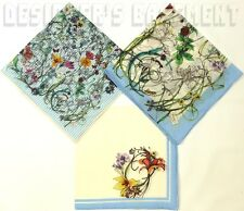 GUCCI signature INFINITY FLORA cotton ETHELIA pocket square Set of 3 NIB Authent