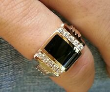 0.35 CT MEN'S DIAMOND & ONYX RING YELLOW GOLD 14K 2 row 9.0 GRAMS HEAVY