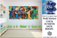 Lego Marvel Avengers Kids Bedroom Wall Sticker extra large kids wall decal .