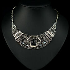 Fashion Vintage Chunky Rhinestone Crystal Pendant Chain Alloy Choker Necklace