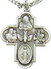 """MRT BIG Sterling Silver Cross 1 3/8"""" Scapular Call A Priest Medal w Chain Boxed"""