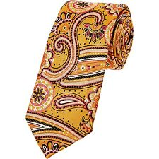 DUCHAMP -LONDON FAB VIBRANT GOLD/YELLOW FLORAL JACQUARD SLIM SILK TIE