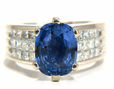 GIA Certified 5.52ct natural cornflower blue sapphire diamonds ring platinum