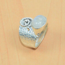 925 SILVER PLATED NATURAL WHITE RAINBOW MOON STONE DESIGNER RING 4US D06391