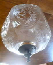 Vintage 6 Sided Large Clear Glass Ceiling Mount Light Globe Scrolled  Shade