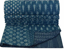Patchwork Kantha Quilt, Hand Block Print Fabric, Indigo Blue Color, Twin Size