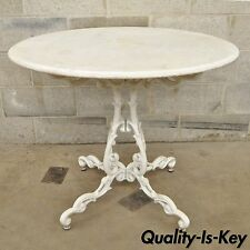 "Vtg 36"" Round Victorian Cast Iron White Marble Top Outdoor Patio Dining Table"