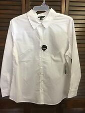 NWT George White Long Sleeve Button Down Blouse Top Shirt Size 2X 18W/20W