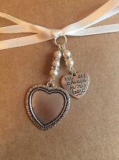 Bridal Bouquet Heart Photo Frame Memory Charm With Heart Wedding Swarovski Beads