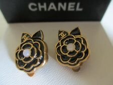 Authentic CHANEL CC clip earrings (Black camellia)