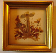 VINTAGE DRY FLOWERS LEAVES BOUQUET IN MINI WOOD GOLD LEAF FRAME NON-GLARE GLASS