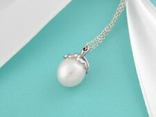 Tiffany & Co Silver Heart Cap Pearl Necklace Pendant Box Included