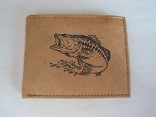 """Mankind Wallets-Men's Leather Billfold w/FREE """"Large Mouth Bass/Fishing"""" Image"""