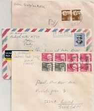 3 COVERS TURQUIE TURKEY TO SWEDEN. L588