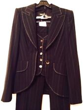 ESCADA New With Tags Black Pinstripe Pant Suit With Vest SZ 36. ( 6 )